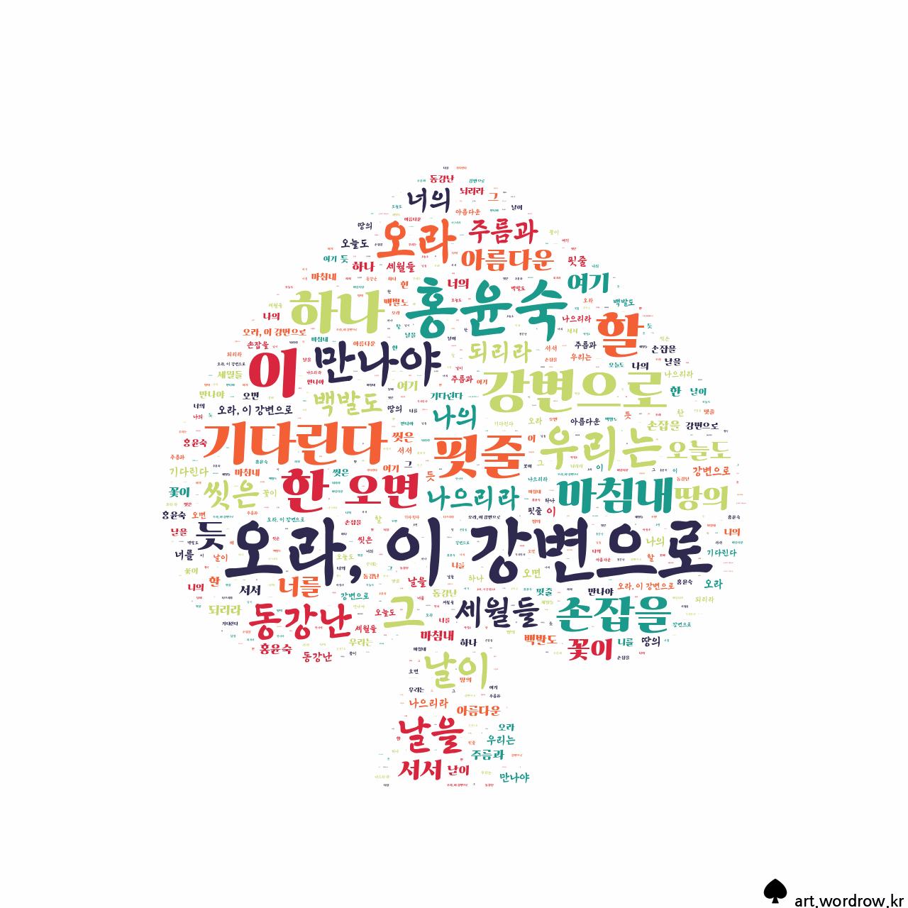 워드 클라우드: 오라, 이 강변으로 [홍윤숙]-4